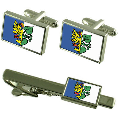 Karvina City Czech Republic Flag Cufflinks Tie Clip Box Gift Set