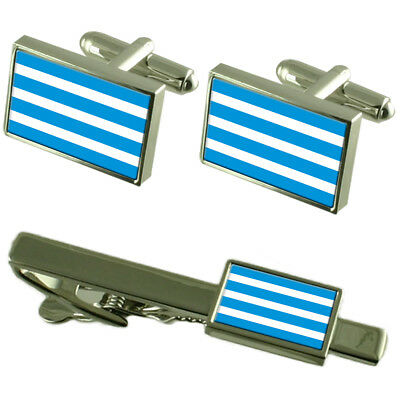 Most City Czech Republic Flag Cufflinks Tie Clip Box Gift Set