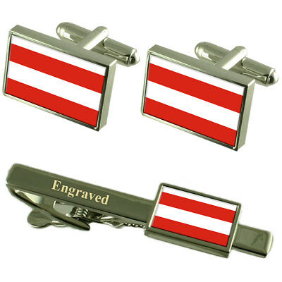 Brno City Czech Republic Flag Cufflinks Engraved Tie Clip Set