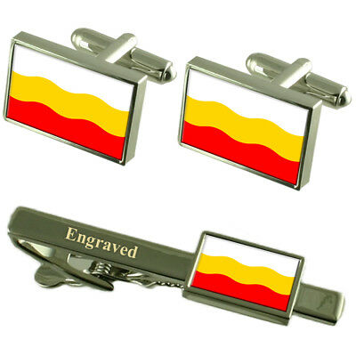 Decin City Czech Republic Flag Cufflinks Engraved Tie Clip Set