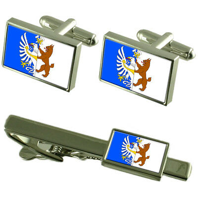 Kladno City Czech Republic Flag Cufflinks Tie Clip Box Gift Set