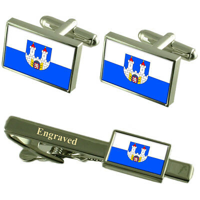 Chomutov City Czech Republic Flag Cufflinks Engraved Tie Clip Set