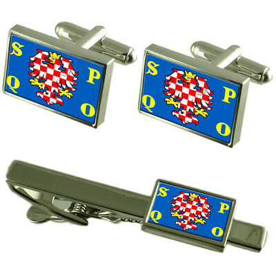 Olomouc City Czech Republic Flag Cufflinks Tie Clip Box Gift Set