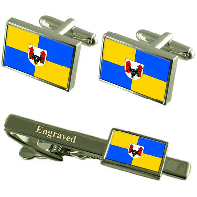 Prerov City Czech Republic Flag Cufflinks Engraved Tie Clip Set