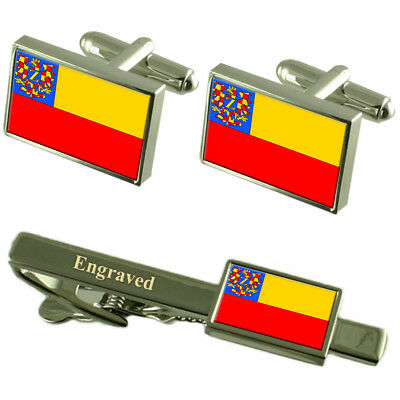 Znojmo City Czech Republic Flag Cufflinks Engraved Tie Clip Set