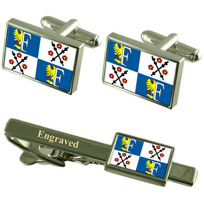 Frydek Mistek City Czech Republic Flag Cufflinks Engraved Tie Clip Set