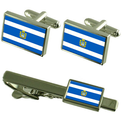 Sandefjord City Norway Flag Cufflinks Tie Clip Box Gift Set