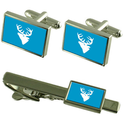 Hitra City Norway Flag Cufflinks Tie Clip Box Gift Set