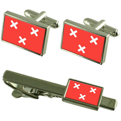 Groningen City Netherlands Flag Cufflinks Engraved Tie Clip Set