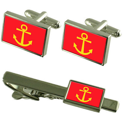 Sandefjord City Norway Sterling Silver Flag Cufflinks Engraved Box