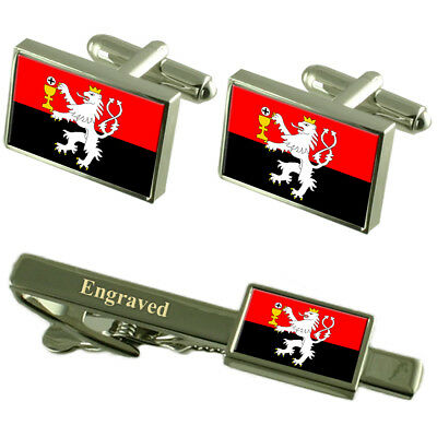 Tabor City Czech Republic Flag Cufflinks Engraved Tie Clip Set