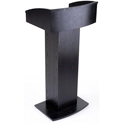 Electronics Features Displays2go Floor Standing Pulpit Wood Grain Style, Base,