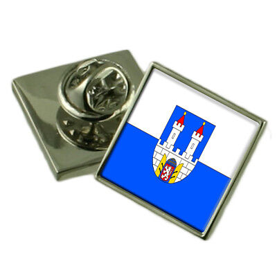 Chomutov City Czech Republic Flag Lapel Pin Engraved Box