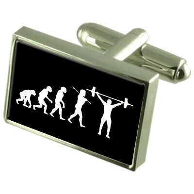 Evolution Ape to Man Weight Lifter Tie Clip Engraved Personalised Box