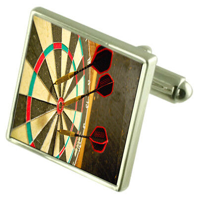 ffb0b32f80ed Bullseye Darts Dartboard Sterling Silver Cufflinks Optional Engraved Box