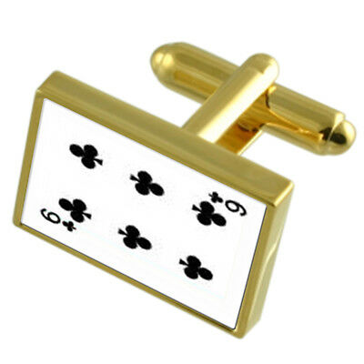 Club Playing Card number 8 Gold-tone Cufflinks Money Clip Engraved Gift Set