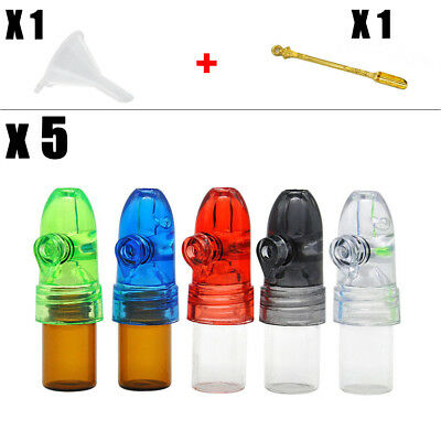 5pc Acrylic Vial Glass Bottle Nasal Bullet Snuff Dispenser Snorter Spoon+Funnel