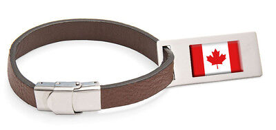 Canada Flag Leather Luggage Tag Steel Engraved Text