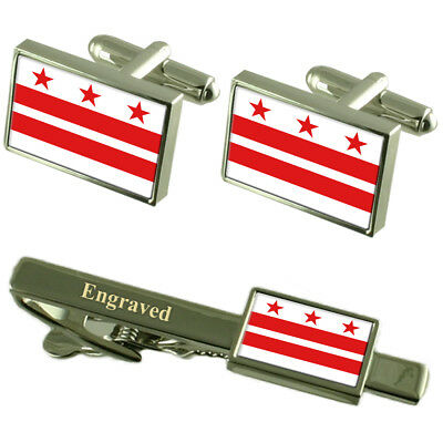 District Of Columbia Flag Cufflinks Engraved Tie Clip Matching Box Set
