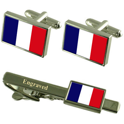 Martinique Flag Cufflinks Engraved Tie Clip Matching Box Set