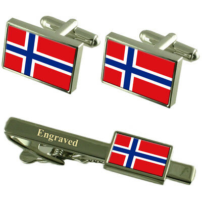 Norway Flag Cufflinks Engraved Tie Clip Matching Box Set