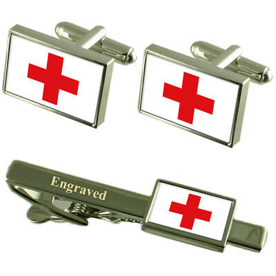 Red Cross Flag Cufflinks Engraved Tie Clip Matching Box Set