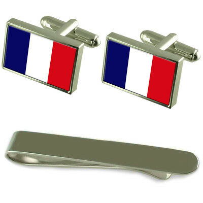 Martinique Flag Silver Cufflinks Tie Clip Engraved Gift Set