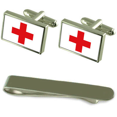 Red Cross Flag Silver Cufflinks Tie Clip Engraved Gift Set