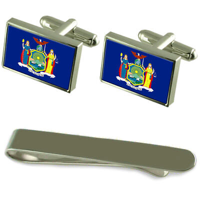 New York Flag Silver Cufflinks Tie Clip Engraved Gift Set