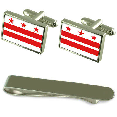 District Of Columbia Flag Silver Cufflinks Tie Clip Box Gift Set