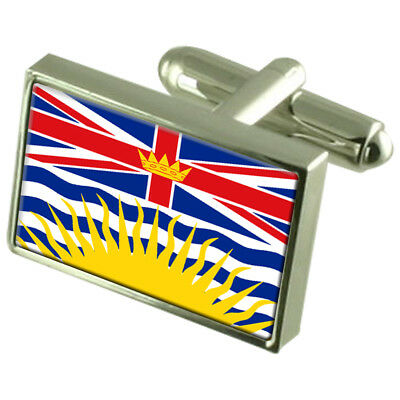 British Columbia Sterling Silver Flag Cufflinks In Engraved Personalised Box