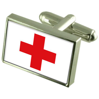 Red Cross Sterling Silver Flag Cufflinks In Engraved Personalised Box