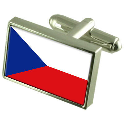 The Czech Republic Sterling Silver Flag Cufflinks In Engraved Personalised Box