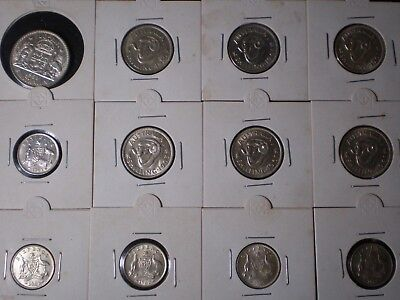 mixed lot of Australian pre decimal silver coins in 2 x 2 holders 2/- 1/- 6d