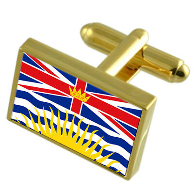 British Columbia Gold-Tone Country Flag Cufflinks Select Gift Pouch