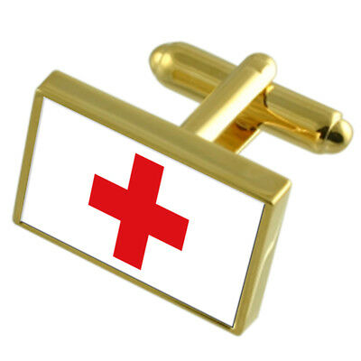 Red Cross Gold-Tone Country Flag Cufflinks Select Gift Pouch