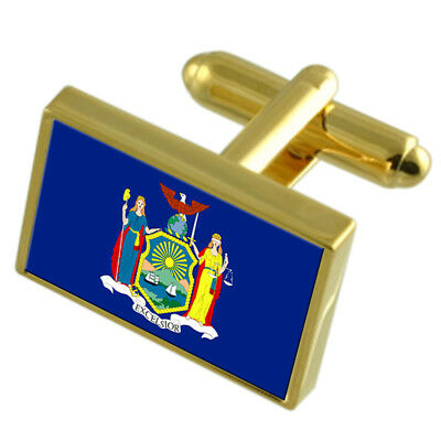 New York Gold-Tone Country Flag Cufflinks Select Gift Pouch