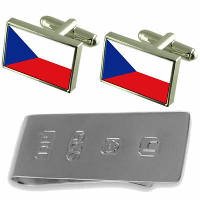 The Czech Republic Flag Cufflinks & James Bond Money Clip