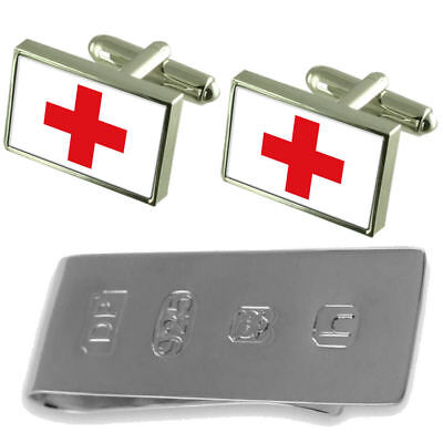 Red Cross Flag Cufflinks & James Bond Money Clip