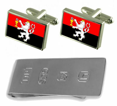Tabor City Czech Republic Flag Cufflinks & James Bond Money Clip