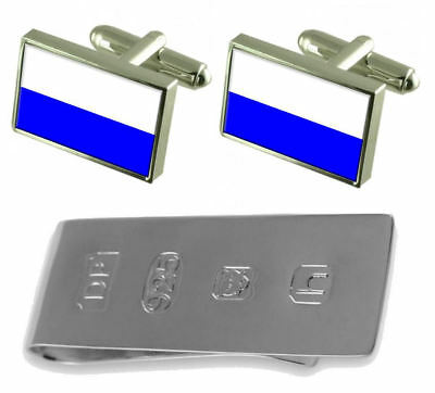 Mlada Boleslav City Czech Republic Flag Cufflinks & James Bond Money Clip
