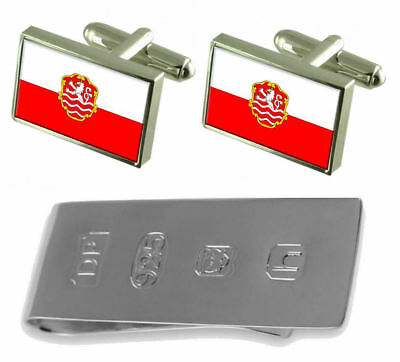 Karlovy Vary City Czech Republic Flag Cufflinks & James Bond Money Clip