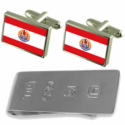 Select Gifts French Polynesia Flag Cufflinks Engraved Tie Clip Matching Box Set