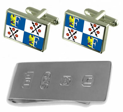 Frydek Mistek City Czech Republic Flag Cufflinks & James Bond Money Clip