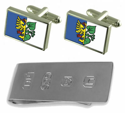 Karvina City Czech Republic Flag Cufflinks & James Bond Money Clip
