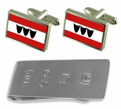 Trebic City Czech Republic Flag Cufflinks & James Bond Money Clip