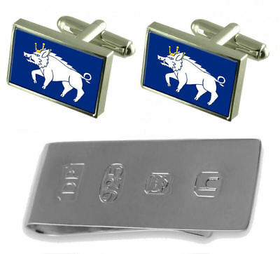 Kingswinford City Flag Cufflinks & James Bond Money Clip