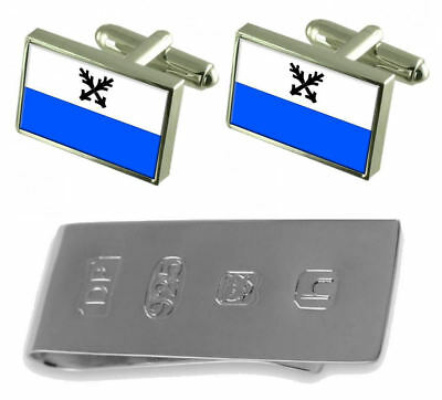 Ceska Lipa City Czech Republic Flag Cufflinks & James Bond Money Clip