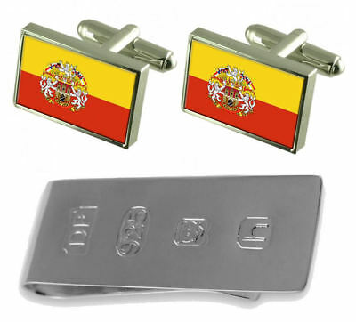Prague City Czech Republic Flag Cufflinks & James Bond Money Clip