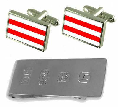 Usti Nad Labem City Czech Republic Flag Cufflinks & James Bond Money Clip